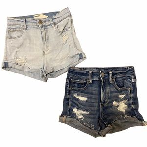 Two pairs of High Waisted Distressed Denim shorts